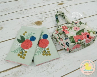 Pre-order* Embroidered Shabby Chic Floral Drool Pads Coordinates with Tula Rosy Posy, Fits most brands.
