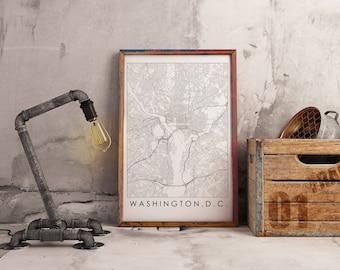 Line Map Printable - Washington, DC