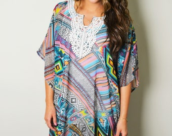 Beach Siren Sheer Cover Up Dress, Beach Tunic, Fringed Tunic, Women's Cover ups, Tunic Dress, Boho Kimono Dress, Plus Size, Lace Detail