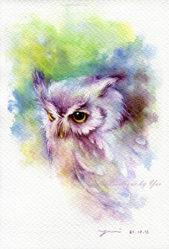 """PRINT – Baby owl Watercolor painting 7.5 x 11"""""""