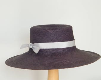 Navy straw hat / Panama hat for Women / wide brim sun hat / navy sunner hat / elegant sun protection hat /ladies beach hat /womens hat