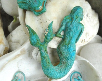 Mermaid, Seaweed, Oyster in green patina (3 pc set)