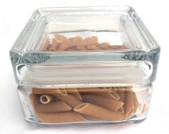 """Glass Storage Canister, Clear Glass Square Jar, Stackable, Hard Rubber Seal, Lidded Pot, Immaculate Condition, 4.25"""" x 3"""", 4 Available"""