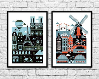 2 Art-Posters 30 x 40 cm Limited Edition 50 ex. - Duo Amsterdam and Paris Design