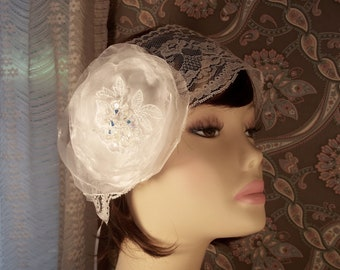 Bridal Headpiece - 1920s Style Bride, Flapper Headband, Floral and Lace Headband -A Bijoux Bridal Chicago Signature Design