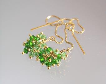 Diopside Tsavorite Cluster Ball Threaders, Two Tone Green Gem Linear Earrings, 14k Gold Filled Lightweight Dangles, Modern and Simple