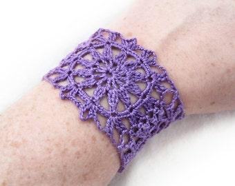 Purple Flower Cuff Bracelet - Violet Egyptian Cotton - Retro, Lace, Granny Square, Modern, Bright, Hippie, Boho Gift