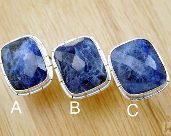 Natural large Deep Blue Sodalite Sterling silver rings Rectangle faceted cut stone December birthstone Jewelry for men women size 8.5