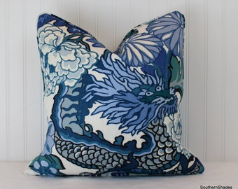 One or Both Sides - Schumacher Chiang Mai Dragon China Blue/Indoor-Outdoor Pillow Cover with Self Cording