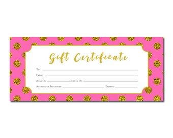 Lips lipsense pink lips blank gift certificate download gold polka dots printable gift certificate hot pink gold glitter birthday yadclub Gallery