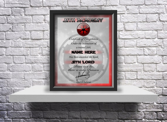 Sith Academy custom graduation certificate Choose Size, and Inserts
