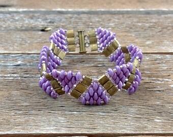 hand beaded bracelet, handmade bracelet, wave bracelet, matte bronze tila beads, Purple super duo beads,super duo beads,tila beads, handmade