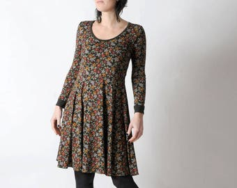 Floral jersey dress, Green floral dress, Womens clothing, Womens dresses, Flared khaki stretchy dress, Made to measure, MALAM