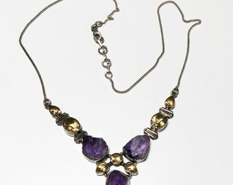 Sterling Silver Amethyst and Citrine Necklace