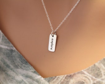 Sterling Silver Explore Necklace, Sterling Silver Explore Word Necklace, Travel Necklace, Traveler Word Necklace, Explore Charm Necklace