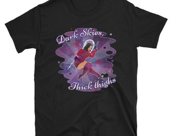 Space Girl T-Shirt - Curvy Vintage Outer Space Pin Up