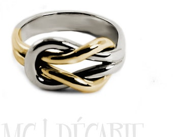Chunky silver and 10k gold double reef knot ring, engraving space, double knot ring in solid gold, wedding ring,  thick knot ring,