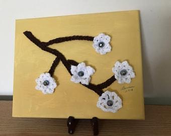 Crochet art, wall decor,mixed media ,crochet+paint ,office decor