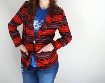 Vintage LAS CRUCES Jacket •1990s Clothing • Southwestern Print Fitted Blazer Jacket Western Cowgirl Concho Tassel Coat • Women Small Medium