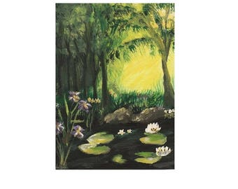 ACEO 2.5X3.5 Art Print of Original Acrylic Canvas Painting Forest Swamp Creek Water Brook Lily Pads Lilies Iris Flowers Sunshine Rocks Sun
