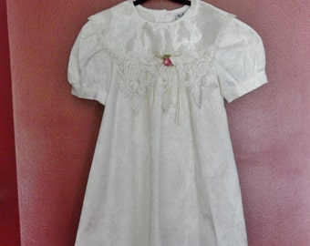 Sz 5 Rose Cottage Dress - Jacquard - Lace Trim Collar - White on White - Made in USA