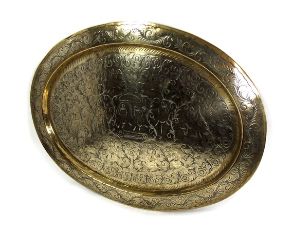 """16"""" Vintage Indian Brass Oval Tray"""