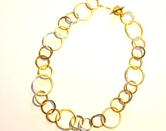Chunky Gold Chain Necklace / Gold Circle Chain Necklace / Bubble Circle Necklace / Modern Geometric Gold Necklace with Vermeil Gold Chain