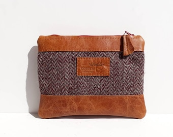 SALE SAMPLE - 'No Waste' leather and Welsh wool purse - Herringbone & Tan