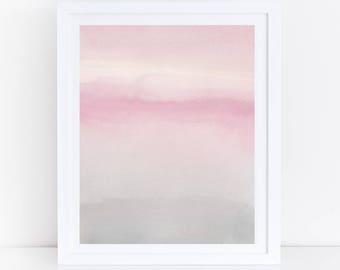 Watercolor Printable Art, Blush Gray Wall Art, Pink Grey Abstract Art, Abstract Art Print, Pink Watercolor Print, Instant Download Art