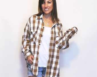 Vintage Flannel, Plaid Button Up 90s Grunge Tan Brown 100% Cotton Comfy Oversize