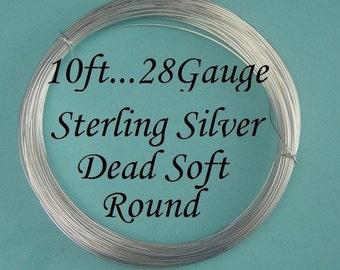 28 gauge g ga, 10 Ft -Sterling Silver Dead Soft Wire