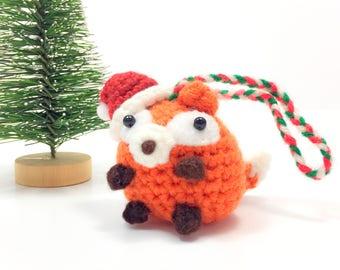 Crochet Amigurumi Cute Kawaii Woodland Fox Small Stuffed Animal Accessory Christmas Tree Ornament Santa Hat Holiday Office Decor Adorable