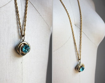 Aqua Blue Rhinestone Gold Necklace