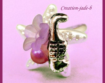 Adjustable ring - Cabochon starfish with Fleur Violette