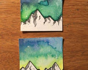 TWO tiny Mountain Galaxy watercolors