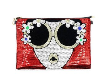 Flower Face Sequin Clutch, Red