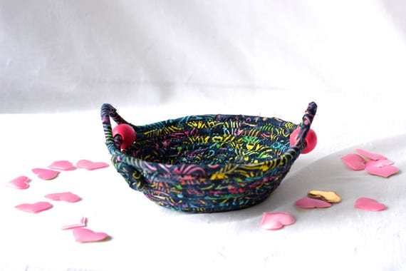 Rustic Batik Basket, Handmade Textile Art Bowl, Candy Dish, Bohemian Quilted Cotton Basket, Boho Chic Fabric Bowl, Change Bowl