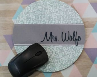 Personalized Mouse Pad - Teacher Appreciation Gift, Monogrammed Mouse Pad, Monogrammed Mousepad, Custom Mouse Pad, Custom Mousepad