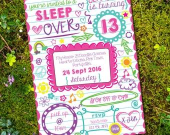 Sleepover Invitation - Tween Girls - Sleep Over Party - Slumber Party Invitation - Teen Invitation- Instant Download- Edit with Adobe Reader