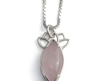 Rose quartz pendant | silver rose quartz necklace | Marquise rose quartz silver pendant | Lotus petal pink pendant | petal crown pendant