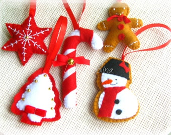 Set of 5 Christmas ornaments, Christmas felt decorations