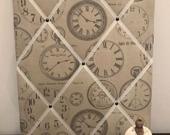 Fabric Memo Board with Clocks Patterned Fabric 40cm x 50 cm