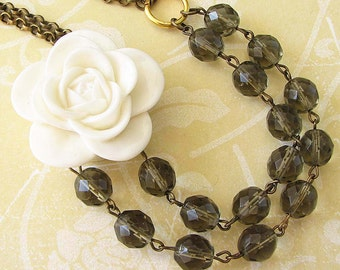 Multi Strand Beaded Necklace Statement Necklace Resin Flower Necklace Grey Jewelry