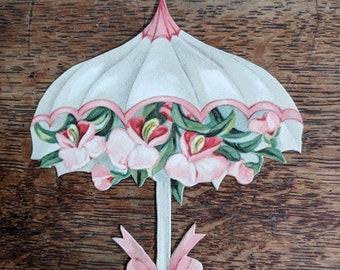 Antique 1910's unused Die Cut German Place Card Decorative Umbrella Parasol Pink Orchids Paper Ephemera