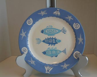 Whimsical FISH plate hand painted ceramic