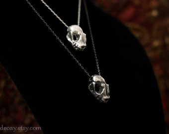 Ready to Ship Sterling Silver Bat Skull Charm with Sterling Silver Chain