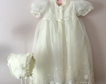 Vintage Christening Gown,Baptism Gown,Christening Dress Set,Four Piece Set