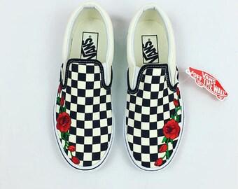 Custom vans shoes etsy for Vans slip on carreaux