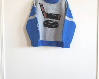 Vintage Blue and Grey Hockey Sweater