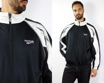 Reebok Track Jacket Vintage Reebok Windbreaker Black White Jacket Vintage Reebok Windbreaker Reebok 90s Reebok Track Jacket Reebok Retro Top
